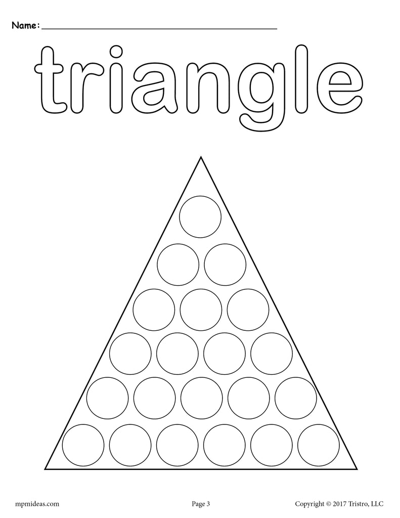 picture about Printable Triangle named No cost Triangle Do-A-Dot Printable - Triangle Coloring Web site