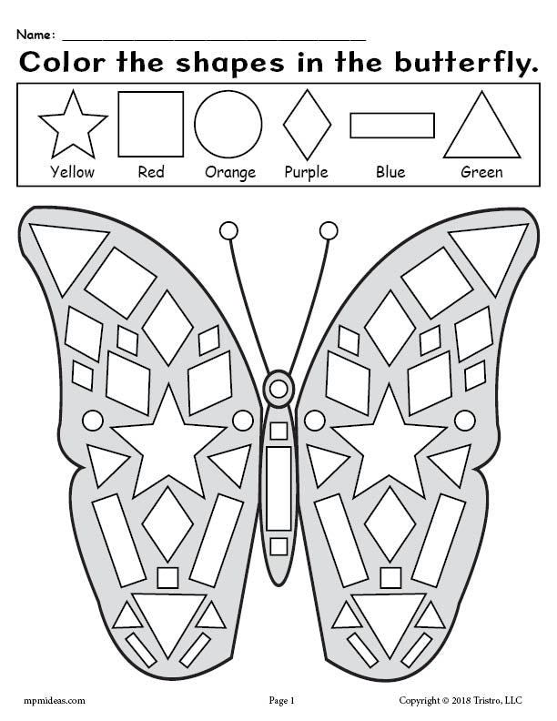 FREE Printable Butterfly Shapes Coloring Pages!