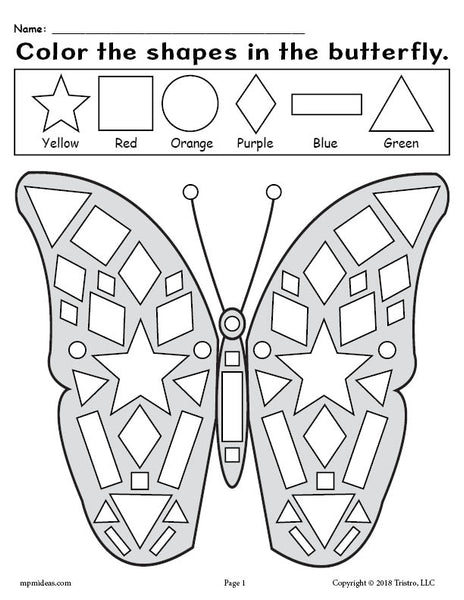 Printable Butterfly Shapes Coloring Pages!