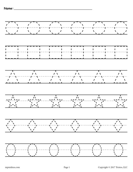 Free Shapes Tracing Worksheets Supplyme