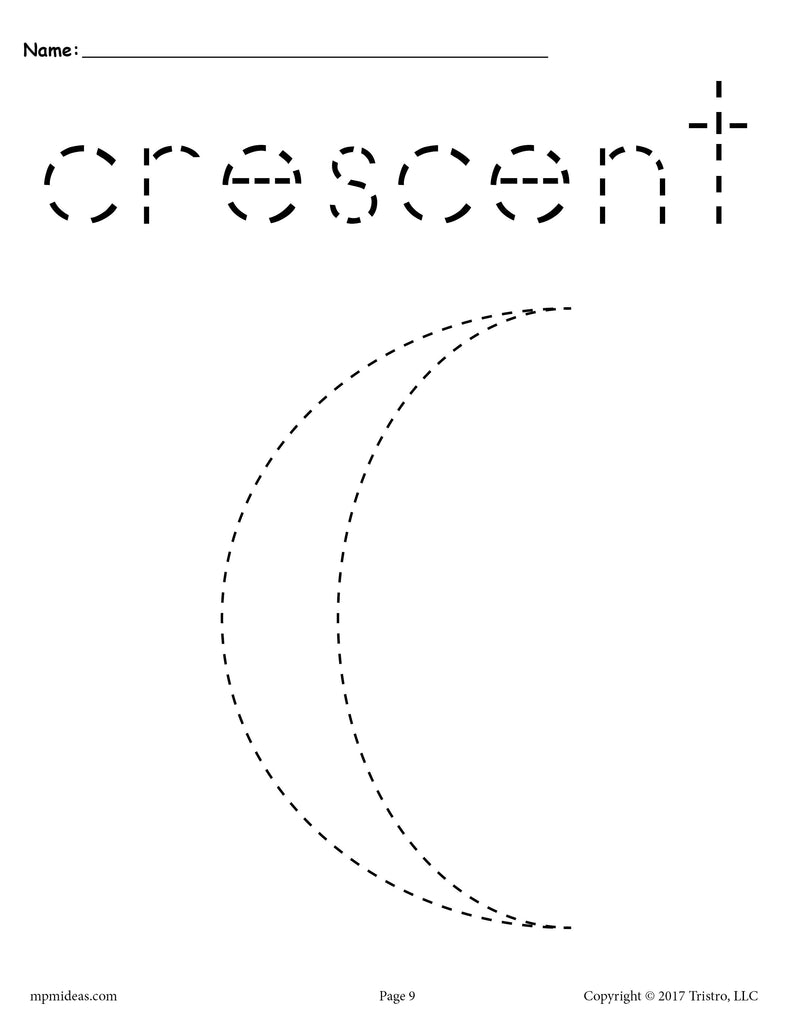 printable cresent shapes coloring pages - photo#20