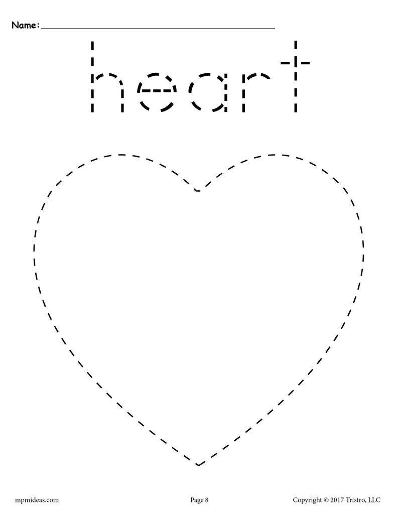 Free Heart Tracing Worksheet Printable Tracing Shapes
