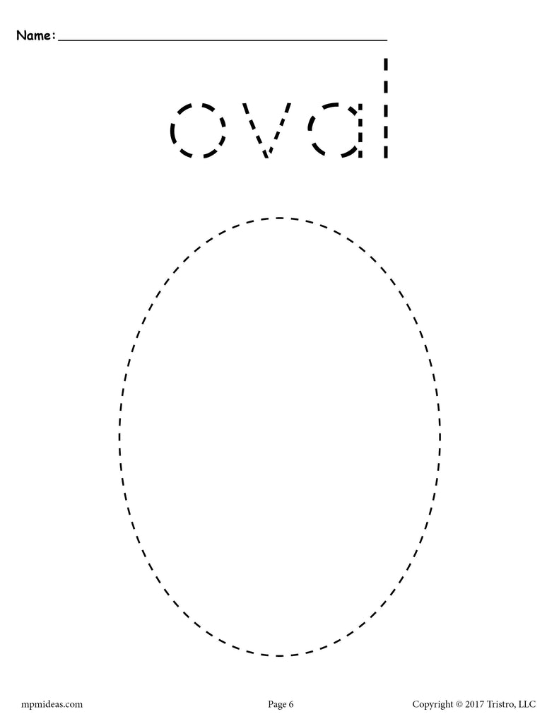 picture about Printable Oval Shapes known as Cost-free Oval Tracing Worksheet - Printable Tracing Designs
