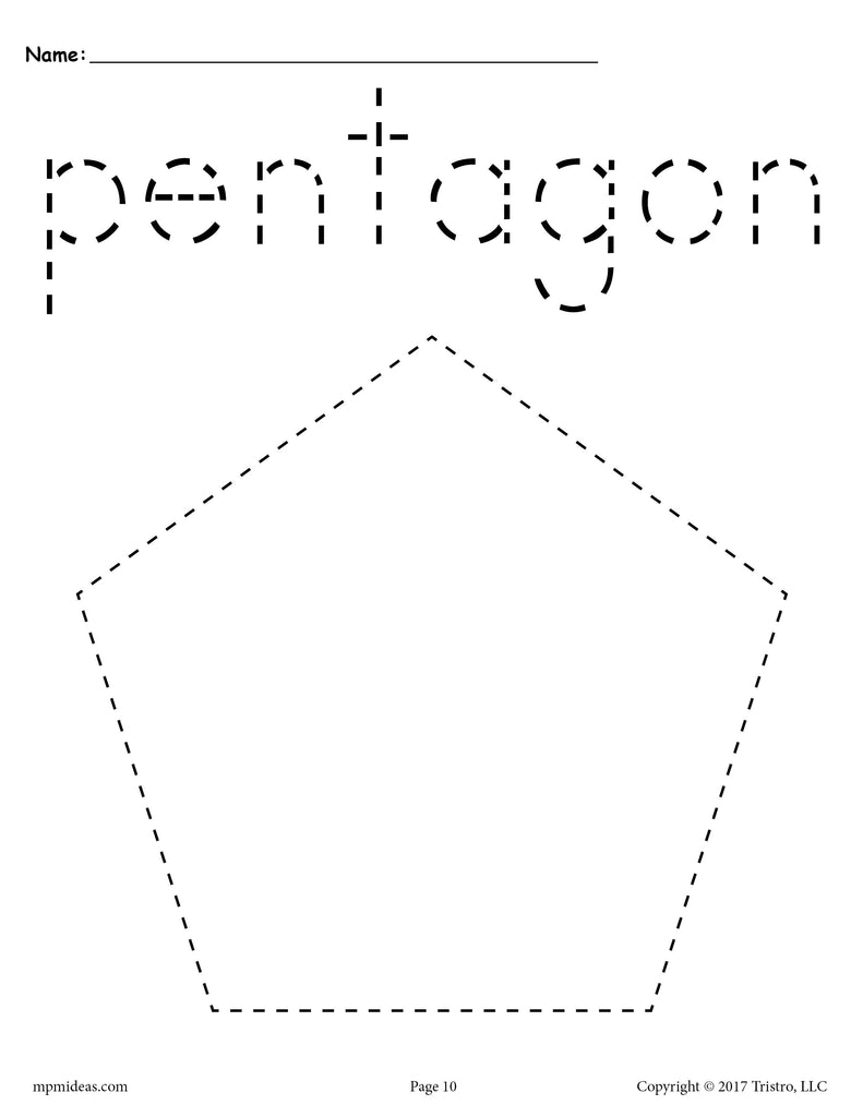Free Pentagon Tracing Worksheet Printable Tracing Shapes