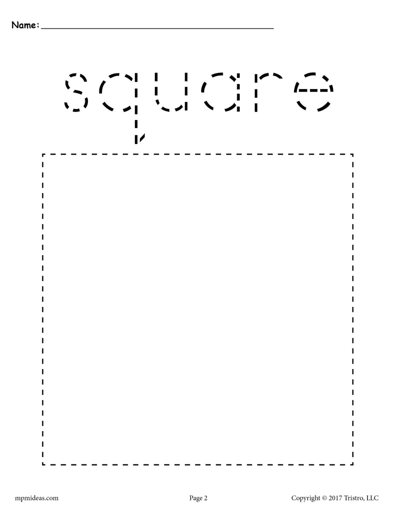 image about Square Printable titled Free of charge Sq. Tracing Worksheet - Printable Tracing Designs