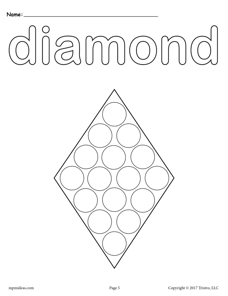 8 Diamond Worksheets: Tracing, Coloring Pages, Cutting & More!