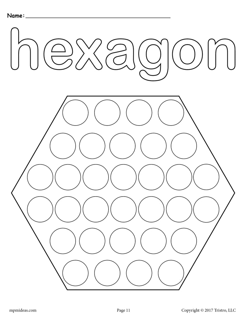 8 Hexagon Worksheets: Tracing, Coloring Pages, Cutting