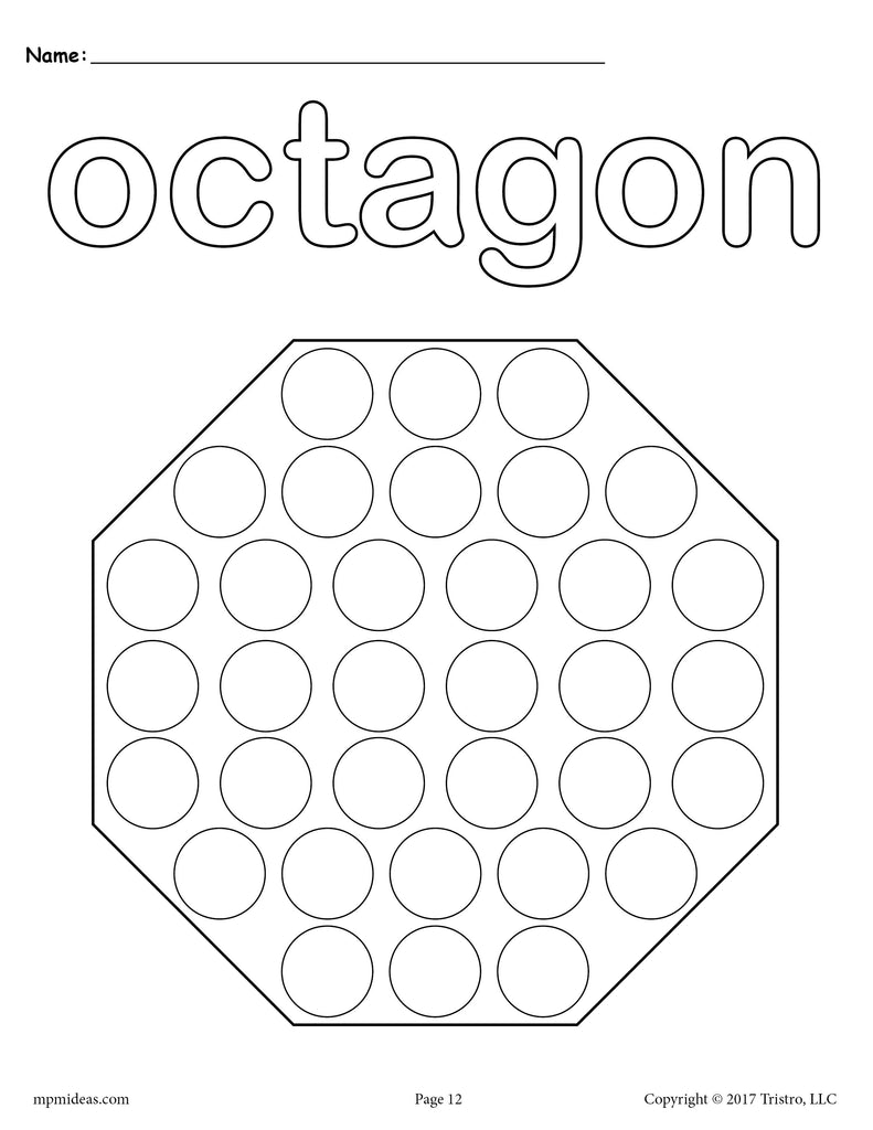8 Octagon Worksheets Tracing Coloring Pages Cutting More