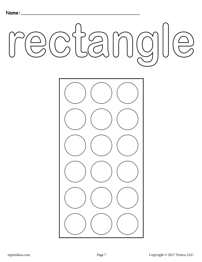 8 Rectangle Worksheets Tracing Coloring Pages Cutting
