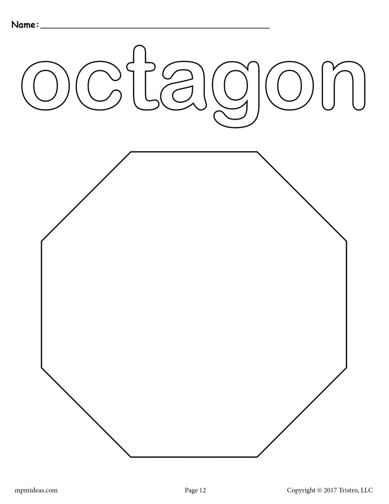8 Octagon Worksheets: Tracing, Coloring Pages, Cutting