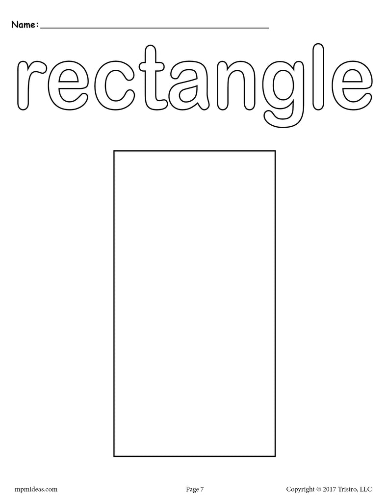 8 Rectangle Worksheets Tracing