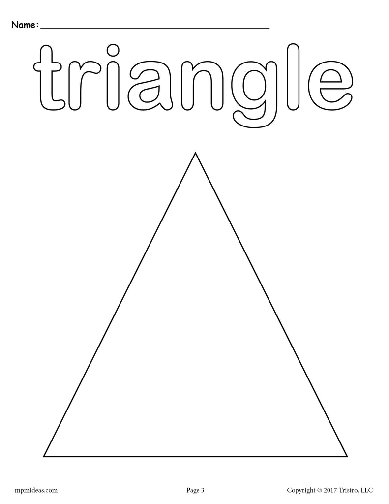 8 Triangle Worksheets Tracing