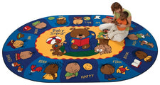 "Sign Say & Play™ Sign Language Classroom Rug, 6'9"" x 9'5"" Oval"
