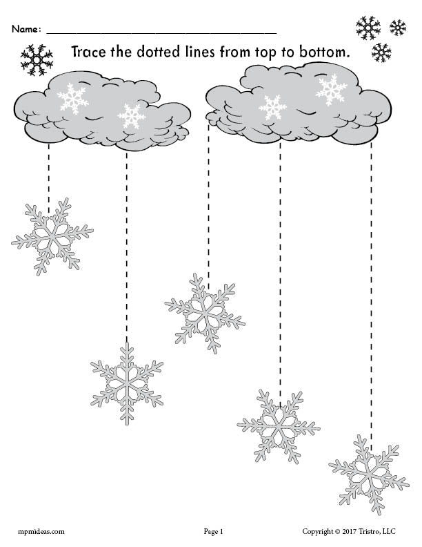 FREE Printable Winter Snowflakes Line Tracing Worksheets!