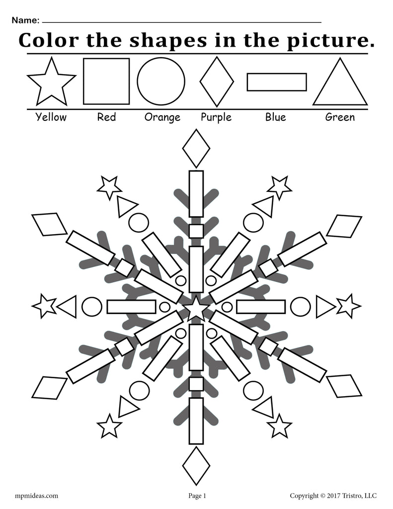 FREE Snowflake Shapes Worksheet