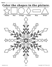 Snowflake Shapes Worksheet & Coloring Page!