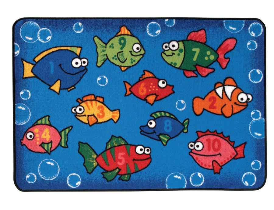 "Something Fishy Numbers KID$ Value Discount Classroom Rug, 3' x 4'6"" Rectangle"