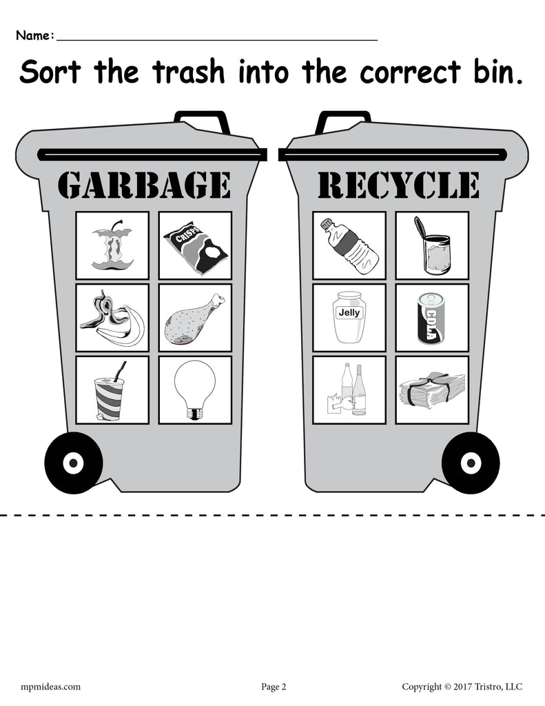 Sorting Trash - Earth Day Recycling Worksheets (4 FREE ...