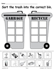 Sorting Trash - Earth Day Recycling Worksheets (4 Printable Versions!)