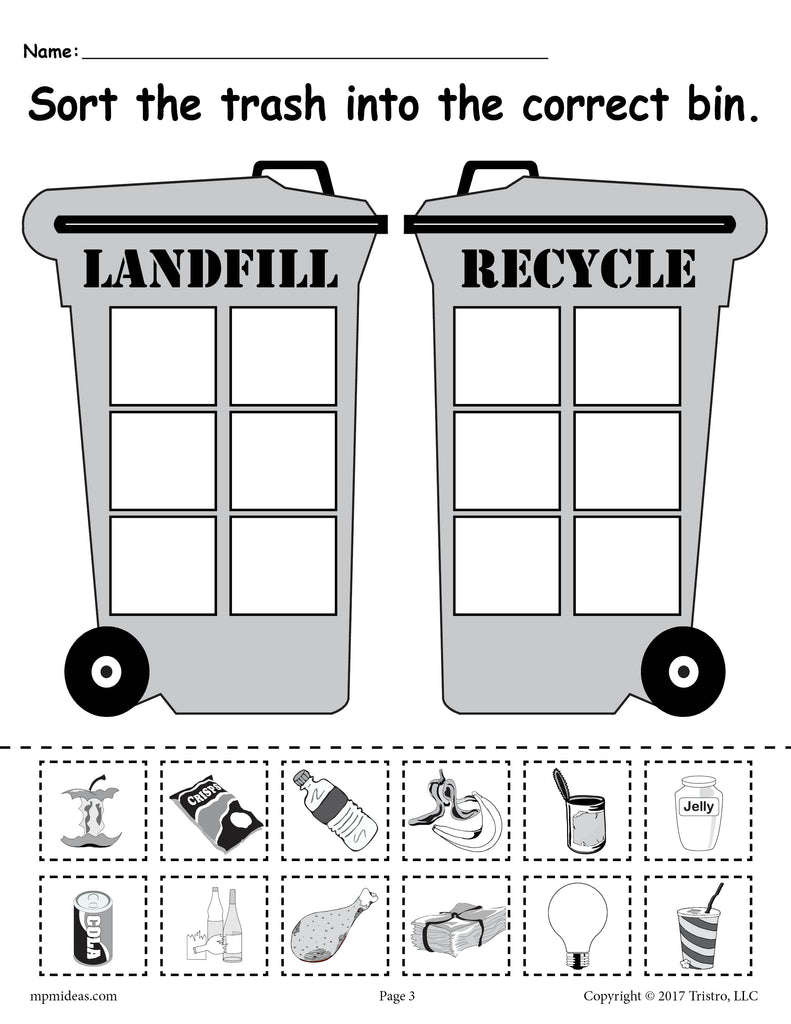 Earth Day Recycling Worksheet Version 2 - Landfill with Soda Cup
