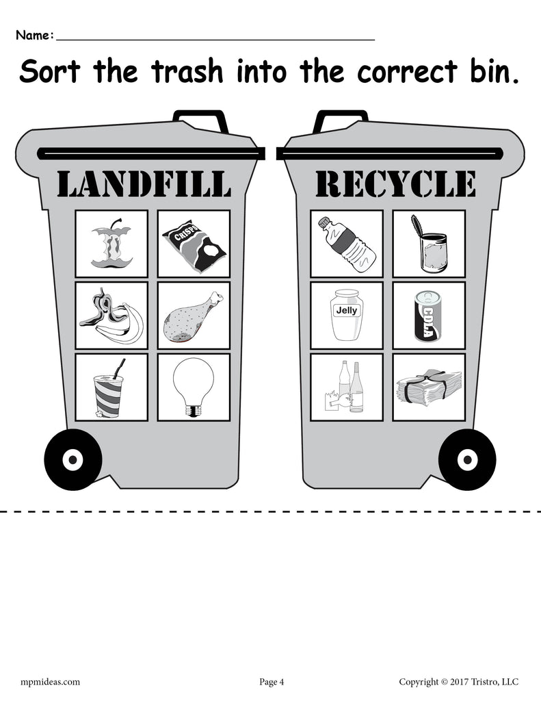 sorting trash earth day recycling worksheets 4 free printable versi supplyme. Black Bedroom Furniture Sets. Home Design Ideas