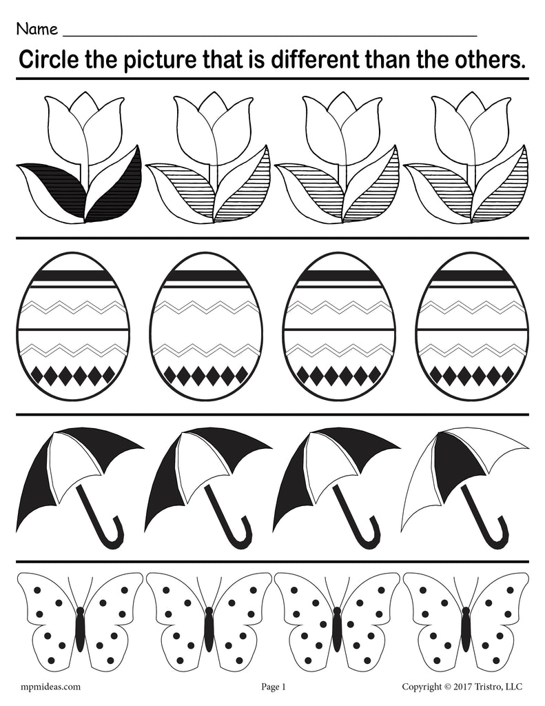 """Spot the Difference"" FREE Printable Spring Themed Worksheet!"