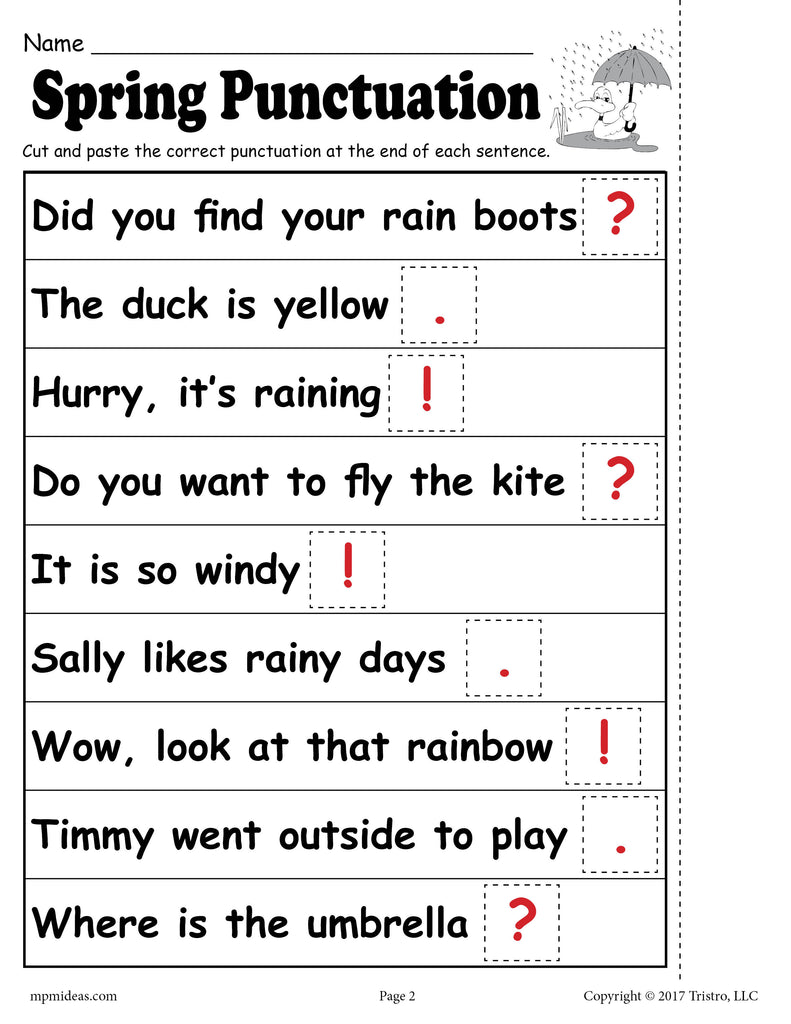 FREE Printable Spring Punctuation Worksheet!