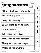 Printable Spring Punctuation Worksheet!