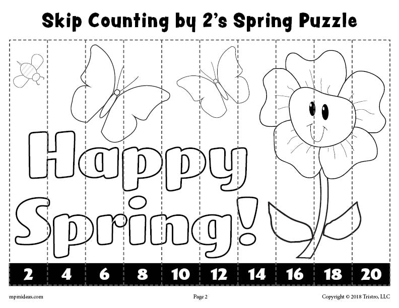 Spring Puzzle - Skip Counting By 2s Worksheet - Black & White