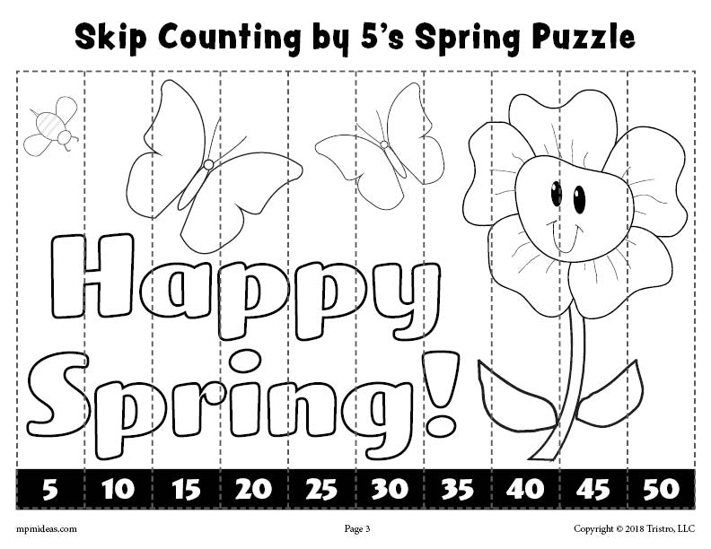 Spring Puzzle - Skip Counting By 5s Worksheet - Black & White