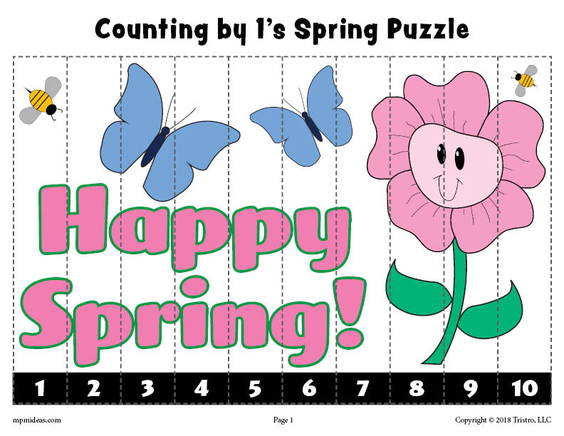 Spring Puzzle - Counting Worksheet 1-10 - Color