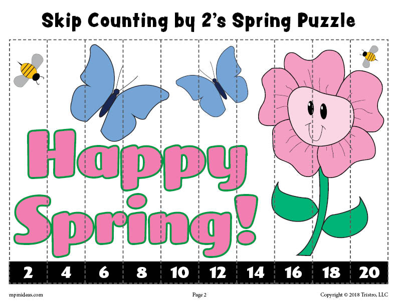 Spring Puzzle - Skip Counting By 2s Worksheet - Color