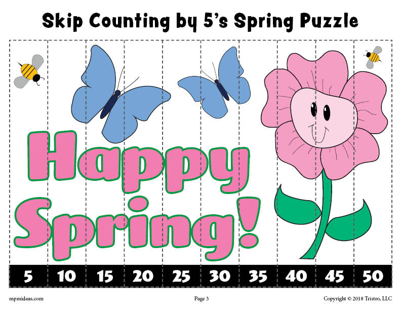 Spring Puzzle - Skip Counting By 5s Worksheet - Color