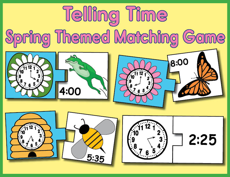graphic regarding Telling Time Printable Game called Free of charge Printable Spring Themed Telling Year Matching Game