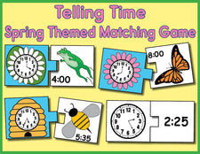 FREE Printable Spring Themed Telling Time Matching Activity & Game - 5 Variations!