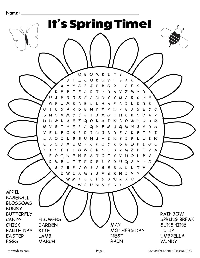 FREE Printable Spring Word Search!