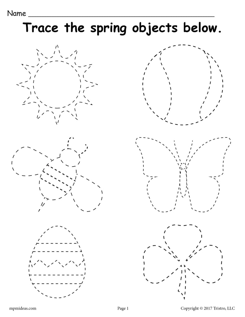 Free Printable Spring Themed Tracing Worksheet Supplyme