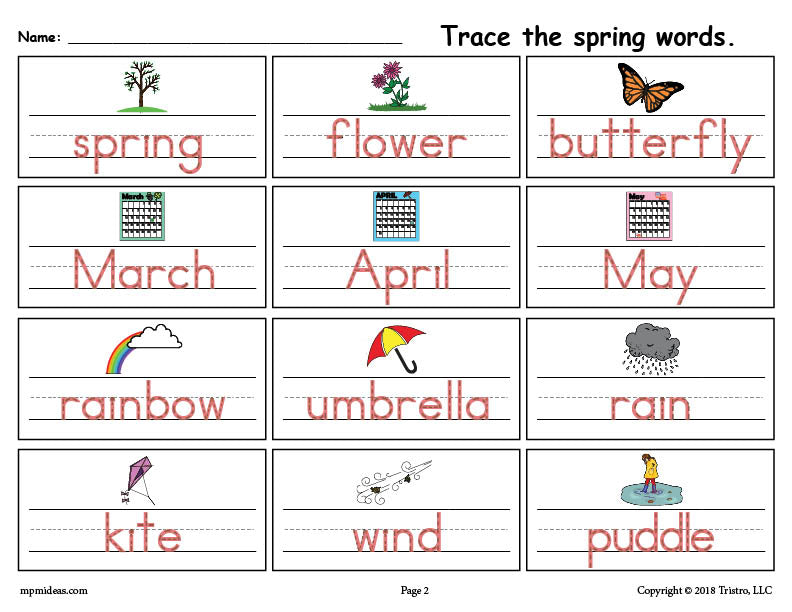 Free Printable Spring Words Handwriting Tracing Worksheet Supplyme