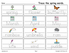 FREE Printable Spring Words Handwriting & Tracing Worksheet!