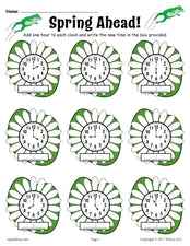 """Spring Ahead!"" Spring Themed Telling Time Worksheet!"