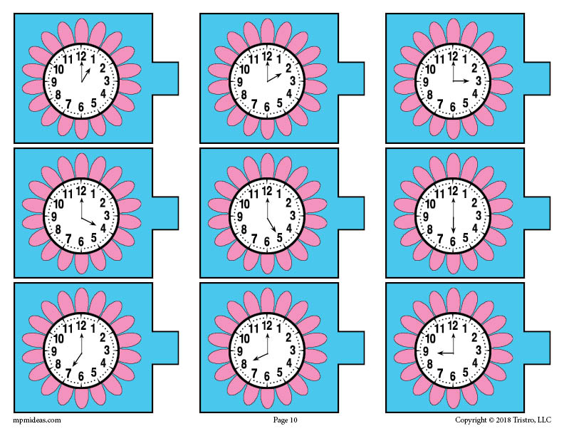 Flower Analog Clocks Telling Time Activity Page
