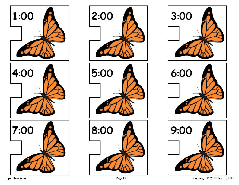 Butterfly Digital Clocks Telling Time Activity Page