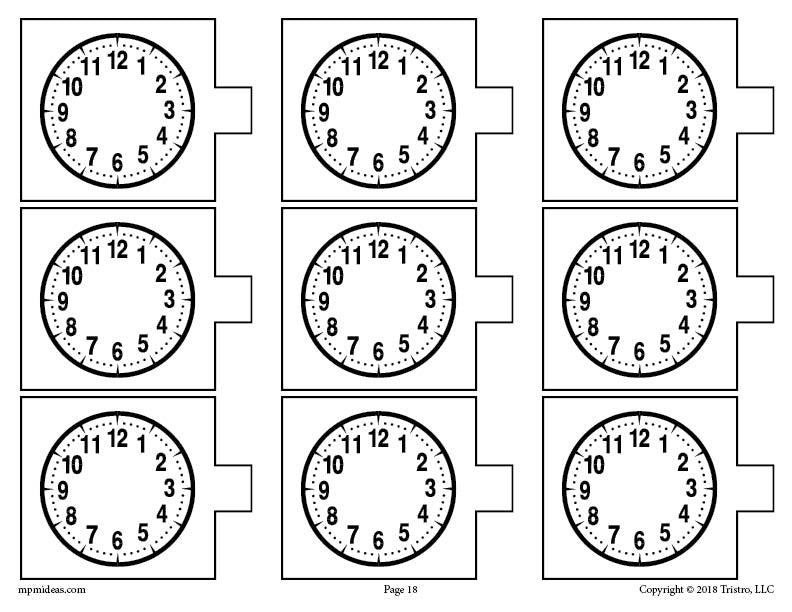 Blank Analog Clocks Telling Time Activity Page