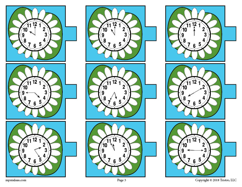 FREE Printable Spring Themed Telling Time Matching Activity & Game ...