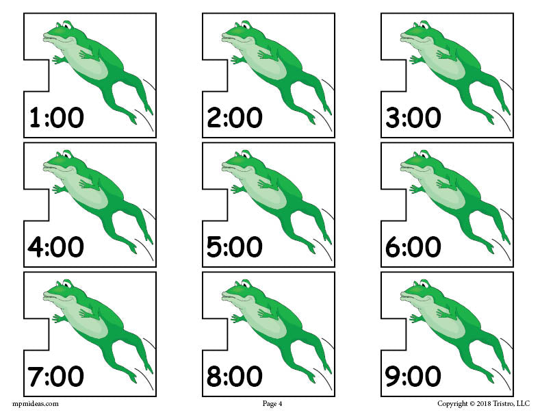 Frogs Digital Clocks Telling Time Activity Page