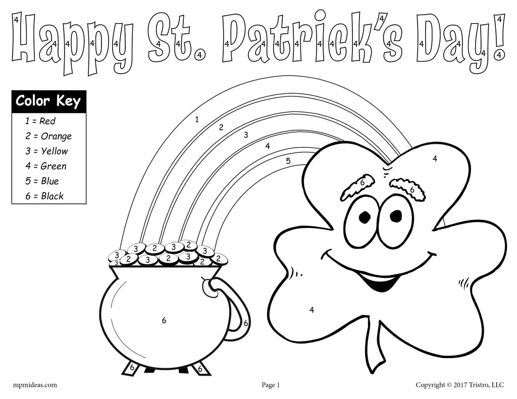 FREE Printable St. Patrick\'s Day Color-by-Number Worksheet! – SupplyMe