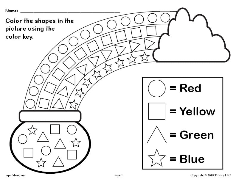 FREE Printable St. Patrick\'s Day Shapes Coloring Worksheet! – SupplyMe