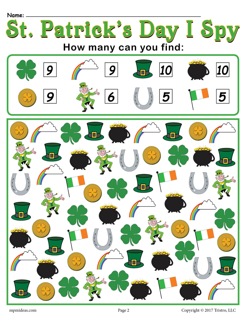 St. Patrick\'s Day I Spy - FREE Printable St. Patrick\'s Day Counting ...