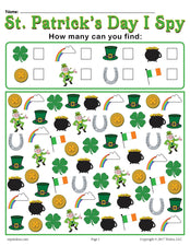 St. Patrick's Day I Spy - Printable St. Patrick's Day Counting Worksheet!