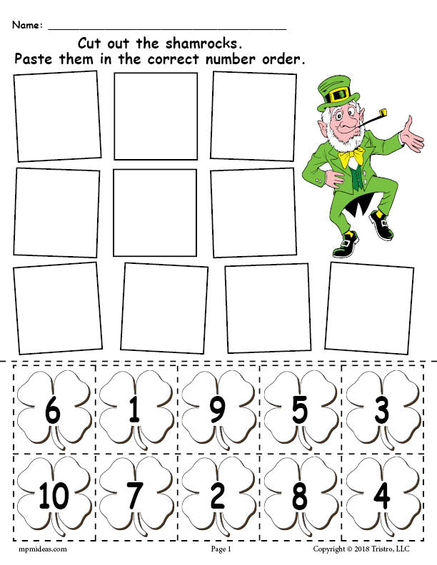 photograph relating to Free Printable St Patrick Day Worksheets called Cost-free Printable St. Patricks Working day Shamrock Amount Purchasing